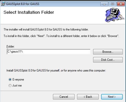 Default GAUSSplot installation directory