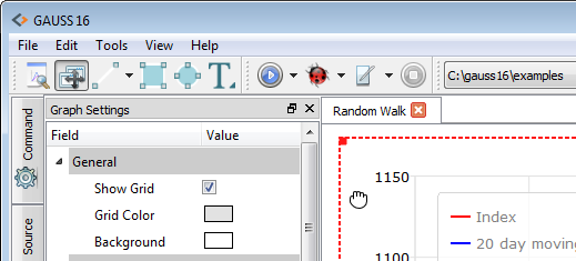 Switch from canvas to graph settings.