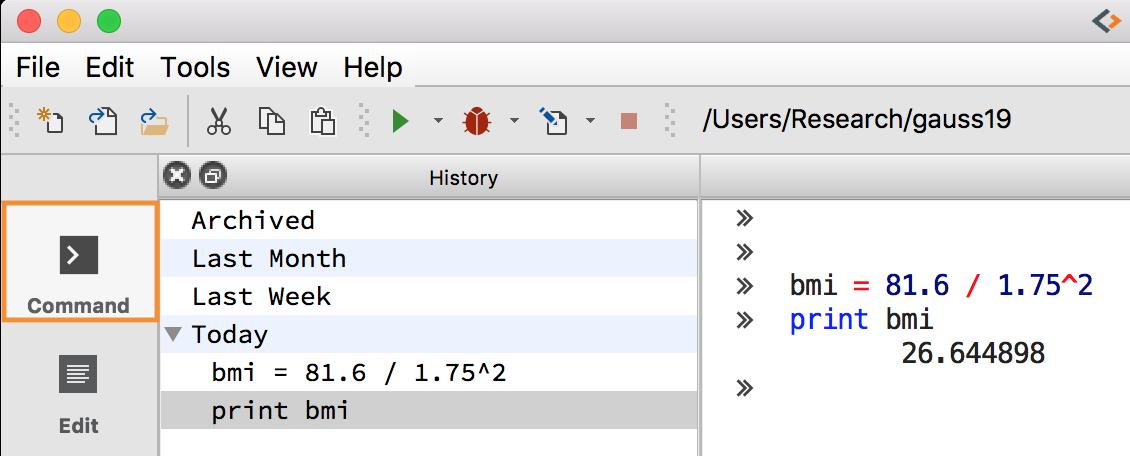 Enter interactive commands in GAUSS.