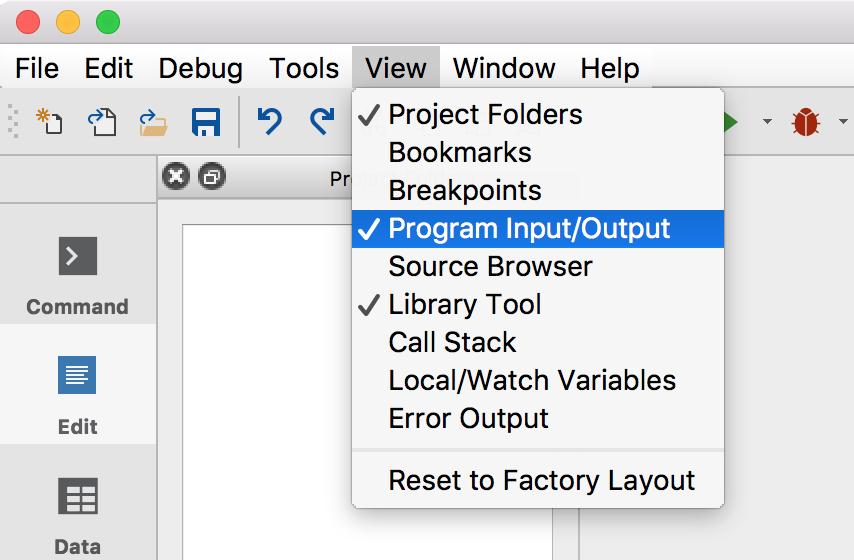 Open widgets in the GAUSS user interface.