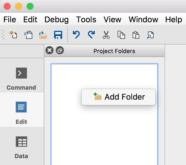 Open a project folder in GAUSS.