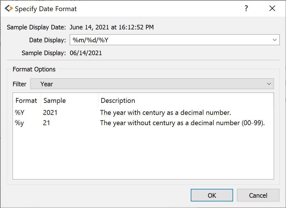 Selecting date formats
